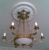 Люстра бронзовая «Ампир»-6 стекло