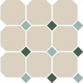 Керамогранит 4416 OCT13+18-A White OCTAGON 16/Turquoise 13 + Green 18 Dots 30х30 см