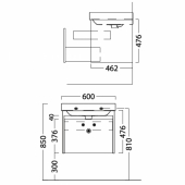 Тумба BUONGIORNO подвесная для раковины 60 см с 1 выдвижным ящиком + 1 внутренний ящик, белая