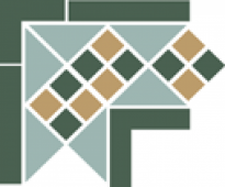 Угол керамический Corner LISBON with 1 strip (Tr.13, Dots 18+03, Strips 18) 21,5х21,5 см