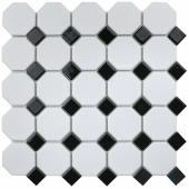 Керамическая мозаика Octagon small White / Black Matt (IDLA2575) 295х295х6