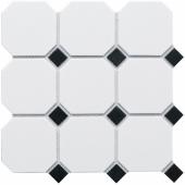 Керамическая мозаика Octagon big White/Black Matt (CLA006) 300х300х6