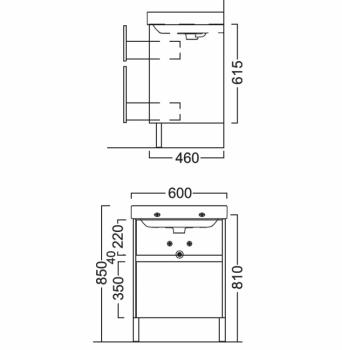 Тумба BUONGIORNO напольная для раковины 60 см с 2 ящиками, Европейский белый