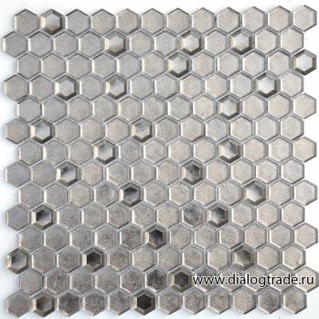 Мозаика argento grani hexagon 23x13x6 мм (лист 30 х 30 см) CARAMELLE