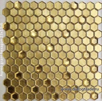 Мозаика aureo grani hexagon 23x13x6 мм (лист 30 х 30 см) CARAMELLE