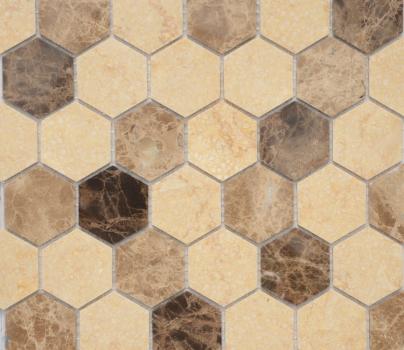 Pietra Mix 1 Mat hex 18x30x6 мм (лист 295x305x6 мм)