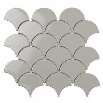 Керамическая мозаика чешуя Fan Shape Light Grey Glossy (BF1912) 293х274х6