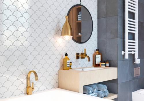Керамическая мозаика чешуя Fan Shape White Glossy (BF1911) 293х274х6