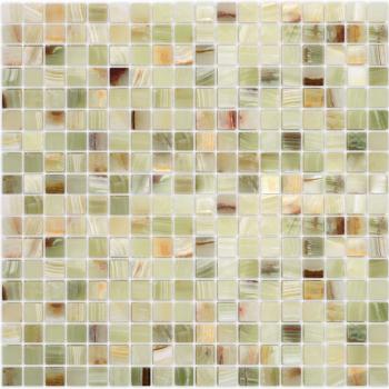 Мозаика CARAMELLE Pietrine Onice Jade Verde полированная 30,5x30,5x0,7 см (чип 15x15x7 мм)