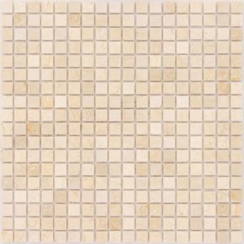 Мозаика CARAMELLE Pietrine Botticino полированная 30,5x30,5х0,4 см (чип 15x15x4 мм)