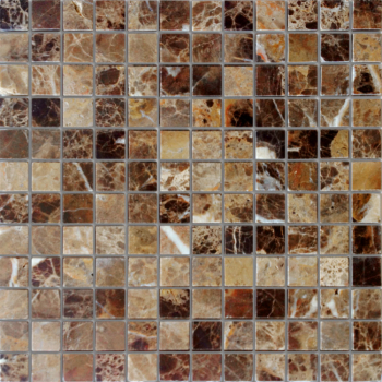 Мозаика CARAMELLE Pietrine Emperador Dark полированная 29,8x29,8х0,7 см (чип 23х23х7 мм)