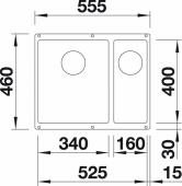 Мойка SUBLINE 340/160-U SILGRANIT PuraDur жасмин (чаша слева) с отв.арм. InFino  BLANCO 523553