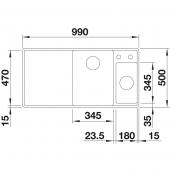 Мойка AXIA III 6 S-F SILGRANIT PuraDur белый чаша слева, доска ясень c кл.-авт. InFino® (Заказная позиция) BLANCO 524666