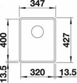 Мойка SUBLINE 320-F SILGRANIT PuraDur  темная скала с отв.арм. InFino (Заказная позиция) BLANCO 523417