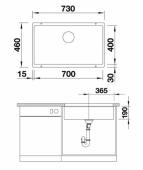 Мойка SUBLINE 700-U SILGRANIT PuraDur жасмин с отв.арм. InFino  BLANCO 523447