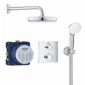 Набор для комплектации душа GROHE Grohtherm: встраиваемый Термостатический смеситель с переключателем верхний-ручной душ, квадратная розетка, верхний душ Tempesta 210 с кронштейном, ручной душ с подключением и шлангом, хром (34729000)