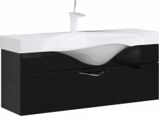 Бродвей тумба с умывальником подвесная с ящиком, цвет черный Brw.01.10/001/BLK, 110*40*32,5