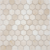 Мозаика Pietrine Hexagonal - Crema Marfil матовая 29,5x30,5х0,6 см (чип 18х30х6 мм)