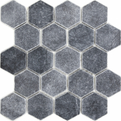 Мозаика, натур. мрамор Hexagon VBs Tumbled 64X74 (305X305X8) матовая