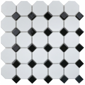 Кер. мозаика Octagon small White/Black Matt (NXWN51488/IDLA2575) 295х295х6