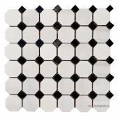 Мозаика Octagon MwP48x48 + BsP15x15 (305X305X9), натур. мрамор