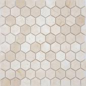 Мозаика LeeDo Pietrine Hexagonal Crema Marfil матовая 28,5x30,5х0,6 см (чип 18х30х6 мм)