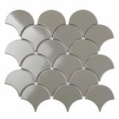 Керамическая мозаика чешуя Fan Shape Dark Grey Glossy (BF1312) 293х274х6