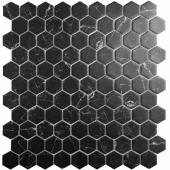 Мозаика Hex Supreme Marquina (на сетке) (0,087м2), чип 35х35 мм