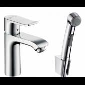 Смеситель hansgrohe Metris для раковины с гигиеническим душем и сливной клапан Push-Open 31285000