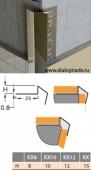 Наружный профиль острых углов стен, нержавеющая сталь