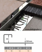 Наружный профиль для плитки с фиксатором, нержавеющая сталь