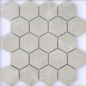 Мозаика LeeDo Nuvola grigio POL 26,7x30,8 см (чип 37x64 мм гексагон), полированный керамогранит
