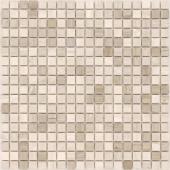 Мозаика CARAMELLE Pietrine Travertino Silver полированная 30,5x30,5х0,4 см (чип 15x15x4 мм)