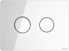 Кнопка ACCENTO CIRCLE, пневматическая, стекло, белая глянцевая