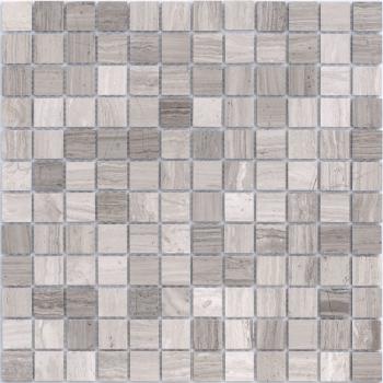 Мозаика CARAMELLE Pietrine Travertino Silver полированная 29,8x29,8х0,7 см (чип 23х23х7 мм)